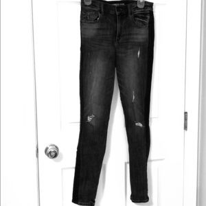 Express Skinny Jeans Leather Stripe Ripped